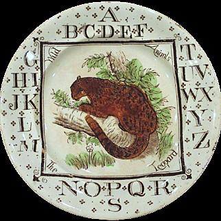 Staffordshire Child's ABC Alphabet Plate Wild Animals The Leopard