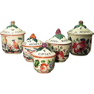 Set of 5 Antique Hand Painted French Faience Vanity Jars