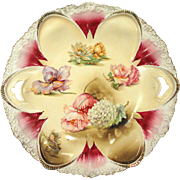 RS Prussia Cake Plate Scattered Flowers Pattern