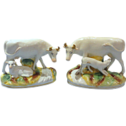 Pair of 19th Century Staffordshire Cow with Calf Figures