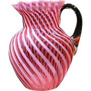 Antique Northwood Cranberry Opalescent Swirl Art Glass Pitcher Jug