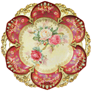 Large RS Prussia Cake Plate Roses Tiffany Finish Jeweling Gorgeous