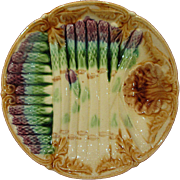 Antique French Onnaing Majolica Asparagus Plate