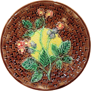 Large Antique Majolica Blackberry Leaf and Flower Plate