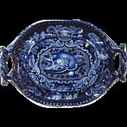 Scarce Dark Blue Staffordshire Transferware Shell Pattern Tray Platter Stubbs Mint