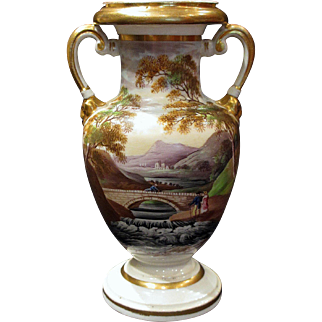 Early Hand Painted Coalport Landscape Cabinet Vase Circa 1810