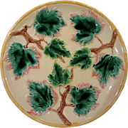 Etruscan Majolica Maple Leaf Plate, Circa 1880