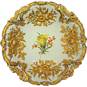 Large Meissen Rococo Style Charger Plate Raised and Gilded Floral Designs Mint Condition