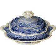 Blue Staffordshire Transferware Tureen with Cover Grecian Scenery Enoch Wood Circa 1825