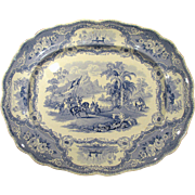 Blue Historical Staffordshire Transferware Platter Columbus Adams