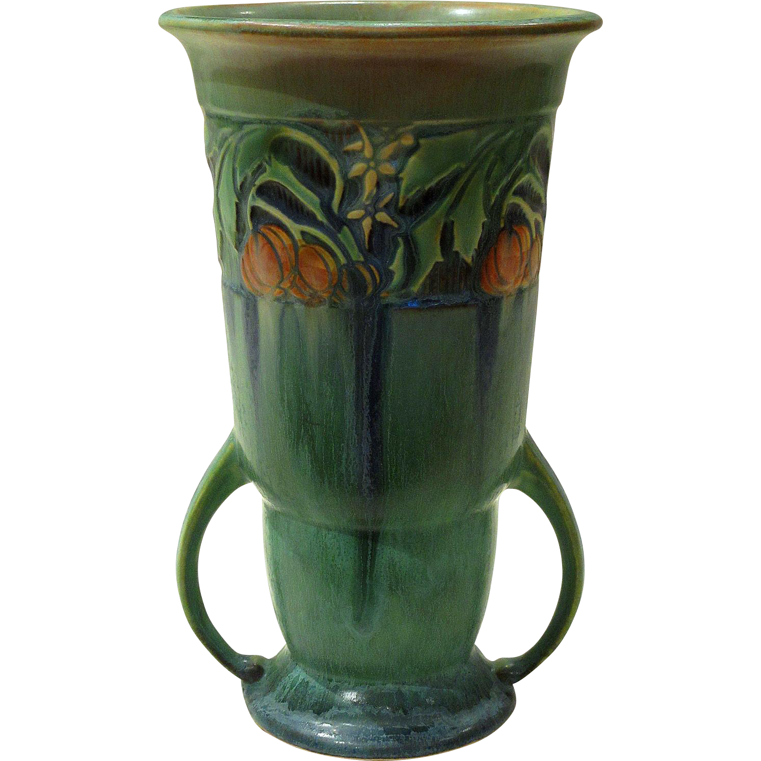 Roseville pottery green baneda arts and crafts vase from for Arts and crafts vases pottery