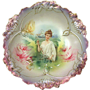 Gorgeous RS Prussia Spring Season Portrait Berry Bowl Mother of Pearl Satin Finish