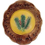 Antique Majolica Fern Plate Great Mold and Colors