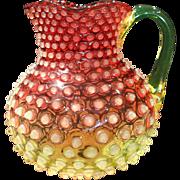 Scarce Large Hobbs Brockunier Cranberry Vaseline Opalescent Glass Hobnail Water Pitcher Pristine