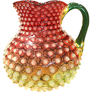 Scarce Large Hobbs Brockunier Cranberry Vaseline Opalescent Glass Hobnail Water Pitcher Pristine