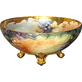 Large Limoges Footed Punch Bowl Hand Painted Grapes Gold