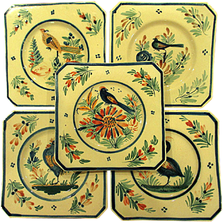 5 Vintage French Quimper for Ovington's Plates with Hand Painted Birds