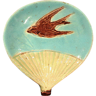 Scarce Holdcroft Majolica Bird and Fan Butter Pat, Circa 1885
