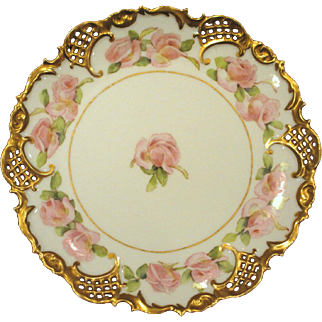Antique Reticulated Leonard Vienna Austria Plate Hand Painted Roses Gold Signed Dated 1902