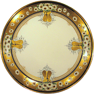 Large Haviland Limoges Stouffer Studio Charger Plate Hand Painted Daisies Platinum and Gold