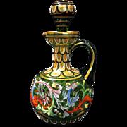 Rare Bohemian Meyr's Neffe Enameled Art Glass Cruet Circa 1880
