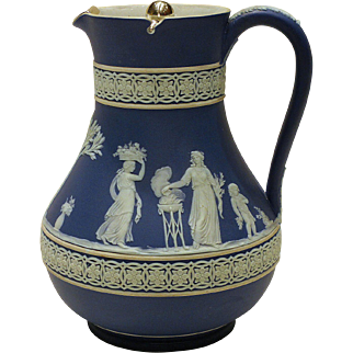 Dark Blue 19th Century Wedgwood Jasperware Jug Pitcher with Silver Plated Lid