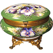 Antique Bohemian Opal Glass Trinket Dresser Box Gorgeous Hand Painted Pansies Ormolu Feet