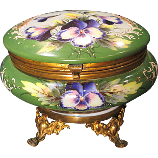 Antique Bohemian Opal Glass Trinket Dresser Box Gorgeous Hand Painted Pansies Ormolu Feet