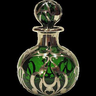 Gorham Sterling Silver Overlay Art Nouveau Perfume Scent Bottle
