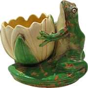 Weller Pottery Coppertone Figural Frog with Lotus Bowl