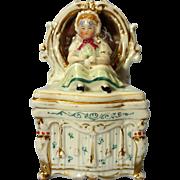 Victorian Conta and Boehme Fairing Trinket Box Original Mirror Glass