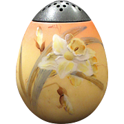 Mt Washington Glass Sugar Shaker Muffineer Burmese Finish Gorgeous Hand Painted Daffodils
