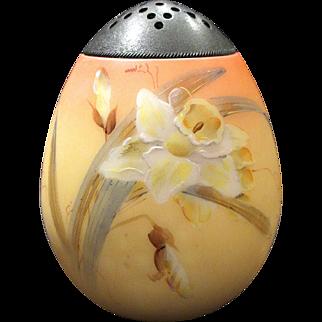 Mt Washington Glass Sugar Shaker Muffineer Burmese Finish Gorgeous Hand Painted Daffodils