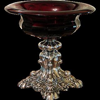 Bohemian Ruby Glass and Silver Compote Tazza Circa 1860