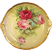 Large Antique Ginori Charger Plate Hand Painted Roses and Gold Signed
