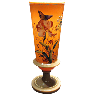 Tall Antique Opal Glass Fireglow Vase Gorgeous Enamel Decoration with Butterflies