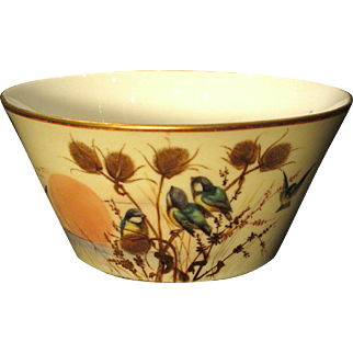 Royal Worcester Bowl Hand Painted Blue Birds among Thistles Dated 1886