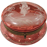 Mary Gregory Cranberry Glass Trinket Box with Kate Greenaway Type Image