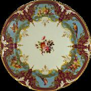 Superb Marked Denuelle Paris Porcelain Plate, Hand Painted Birds, Fruit, Florals