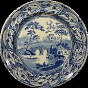 Staffordshire Transferware Plate English Country Scene Leaf Border Circa 1830