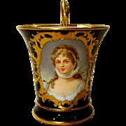Exquisite Antique Dresden Lamm Cabinet Portrait Cup of Queen Louise