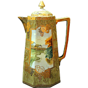 Nippon Hand Painted Scenic Chocolate Pot Jeweled Grapes Grape Leaves Gold