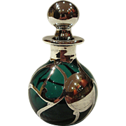 Antique Art Nouveau Sterling Silver Overlay Emerald Green Glass Perfume Bottle