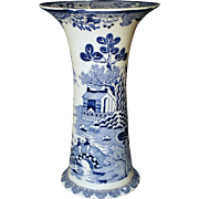 Tall Masons Blue and White Trumpet Vase Chinese Landscape Pattern