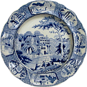 Staffordshire Transfer ware Plate English Country Scene Manor House Cows Fishermen Circa 1830