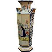 Vintage Hand Painted Henriot Quimper Faience Vase 1930's - Red Tag Sale Item