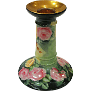 Hand Painted Limoges Candlestick Roses and Gold Circa 1910