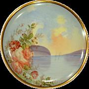 Antique Scenic Haviland Limoges Plate Lakeside Roses Artist Signed