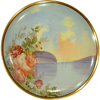 Antique Scenic Haviland Limoges Plate Lakeside Roses Artist Signed