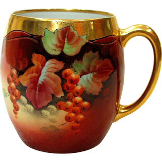 Hand Painted Pickard and Limoges Mug Artist Signed Vokral